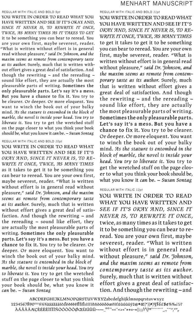 Menhart Manuscript Text Shwing